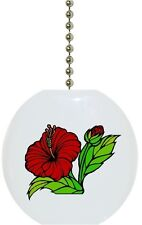 Red Hibiscus Flower Floral Solid Ceramic Ceiling Fan Light Lamp Pull