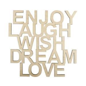 Holzschrift Enjoy Laugh Wish Dream Love FSC100% 18,7x18x0,4cm natur Schrift Holz