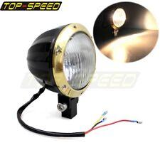 "NEW Motorcycle Head Lamp E-marked 4"" Brass Headlight For Harley Bobber Chopper"