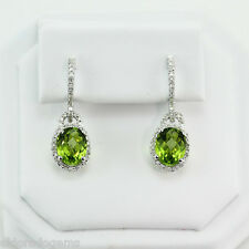 5.01 CT. OVAL PERIDOT 1.00 CT. HALO DESIGN DIAMOND DROP EARRINGS 14K WHITE GOLD