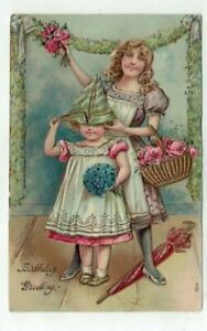 Antique Embossed 1908 Birthday Post Card -  Victorian Girls Party Hat Flowers