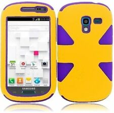 For Samsung Galaxy Exhibit T599 IMPACT TUFF HYBRID Case Skin Cover Yellow Purple