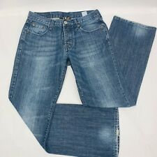 Lucky Brand Mens Jeans 31 Blue Redwood Slim Bootleg Distressed Button Fly