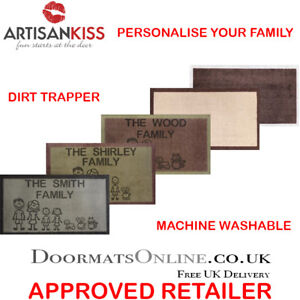 Personalised Family Dirt Trapper 40 x 70cm Washable Absorber Door Mat 5 COLOURS