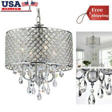 4 Lights Drum Chandelier Modern Crystal Ceiling Light Fixture Pendant Lamp Us Ma