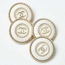 Chanel Button 4pc CC Ivory 23 mm Unstamped Vintage Style 4 Buttons AUTH!!!
