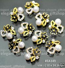 #EA149 10pcs Nail Art Decoration Deluex Black Flower With Heart Pearl Gold Lips