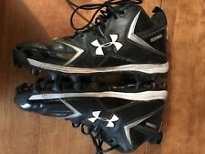 Under Armour 12 Cleats Football Black Euc High Top Sneakers Shoes Active Wear