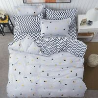 Gray Black Yellow Triangle Print Bedding Set Full Queen King Size Duvet Cover