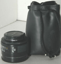 nice Minolta Maxxum 50mm f1.7 AF lens w/ case, crossed XX, for Sony Alpha