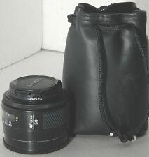nice Minolta Maxxum 50mm f1.7 AF lens w/ case, crossed XX, for Sony Alpha
