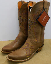 Lucchese N4711.54 Vanilla Sofia Cross Goat Leather  Boots 8 B Made USA New Box