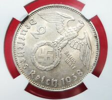 NGC NAZI SWASTIKA ERROR COIN MS-61 1938-E 2 ReichsMark SILVER-Germany 3rd-REICH
