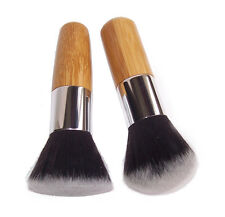 Flat + Round Top Buffer Bamboo Liquid Foundation/Powder/Bronzer Makeup Brush