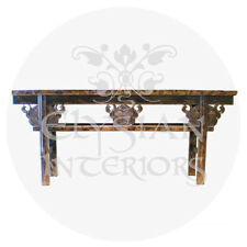 1800s Chinese antique Qing Dynasty elm wood black Asian altar table 19th Century