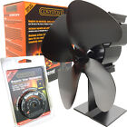 Black Eco Friendly Heat Powered Stove Fan Log Burner Mini Top Fan + Thermostat