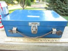 """Vintage Blue Metal Divided Lunch Box  Leather Handle Old Farmhouse Barn 9"""""""