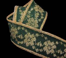 """4 Yards Vintage Christmas Green Gold Lace Wired Ribbon 2""""W"""