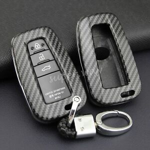 For Toyota Prius/Avalon/C-HR/86 Carbon Fiber Hard Shell Key Fob Chain Cover Case