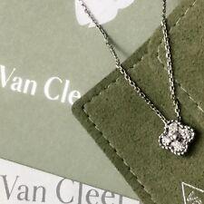 4800 VAN CLEEF & ARPELS VCA Oro Bianco Diamante Collana con ciondolo vintage ALHAMBRA