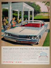 1960 Pontiac Bonneville Vista car illustration art vintage print Ad