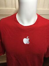 Apple Store Employee Uniform Shirt Red w/ Embroidered Apple Logo Sz L Knit