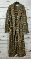 Orvis Plaid Sz XL Cotton Flannel Robe Lounge Mens Bathrobe Brown Beige VGC