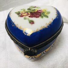 Porcelain Trinket Box Floral Blue Gilt Limoges France Heart Shape Jewel Ring Box
