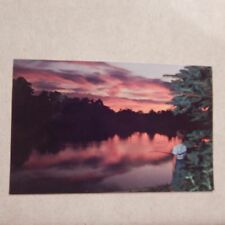 Vintage Postcard Fishing At Sunset In A Pennsylvania Farm Pond