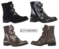 Biker Boots Ankle Combat Punk Military Side Zip Buckle Suede Shoes Womens Ladies