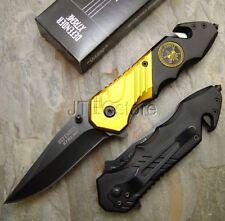 """7.5"""" Special Forces Spring Assisted Knife GOLD/BLACK Folding Pocket Knives PK136"""