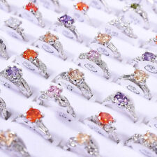 100Pcs Wholesale Colorful Crystal Mixed Rings Bulk Finger Band Ring Jewelry Lot