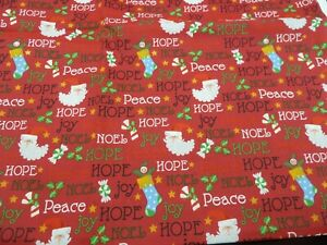 100% cotton Fabric - Hope and joy-- Cristmas Fabric on Red