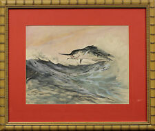 """Fab 'Swordfish Taking The Bait' Bamboo Framed Watercolor"""