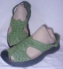 Keen Isabella Sandals 7.5 Green Woven Leather T Strap Slide Mule Hike Trail Shoe