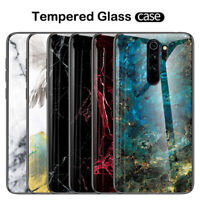For Xiaomi Redmi Note 8 7 Pro 7A Marble Grain Tempered Glass Hybrid Case Cover