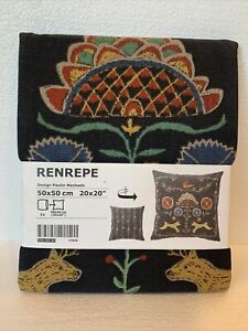 Ikea Renrepe Gray Folk Art Nordic Deer 20 x 20 Cotton Zip Pillow Cover