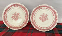 "Set of (2) Grindley ""Avon Pink"" Luncheon Plates Pink Band W/Floral Center"