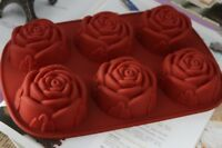 Large 6 Rose Silicone Fondant Mould Cake Decorating Chocolate Baking Mold Tool