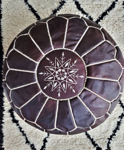 High-quality leather pouf with sabra embroidery - Handmade