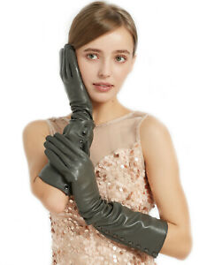 women fashion buttons style real sheep long elbow leather gloves black red grey