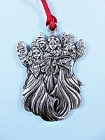 Wallace Silversmiths Pewter Angel Trio Christmas Ornament Circa 1990s Flat