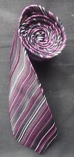 ST GEORGE BY DUFFER WOVEN SILK TIE PURPLES WHITE BLUE & BLACK DIAGONAL STRIPES