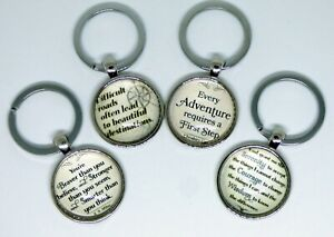 Inspirational & Motivational Keyrings Dome Style Self Help Quotes Hope & Faith