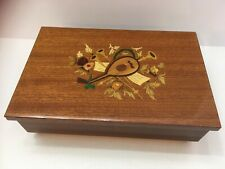VINTAGE ITALIAN JEWELRY/ MUSIC BOX ITALY-FLORAL/MUSICAL-WOOD