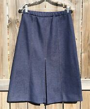Vintage Graff Blue Polyester Pleated Skirt Womens Sz 14, Tailored Look
