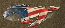 """24""""x9"""" Metal Tin Sign Running Mustang Pony Stars and Stripes red white and blue"""