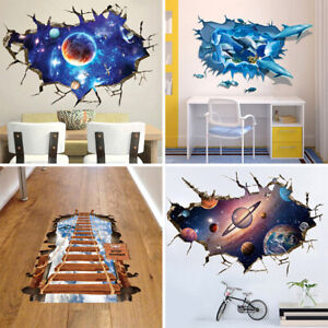 3D Space Galaxy Planets Wall Stickers Removable Broken Wall Kids Room Decal