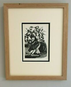 Clare Leighton - Apple gathering - original 1930's print mounted and framed.