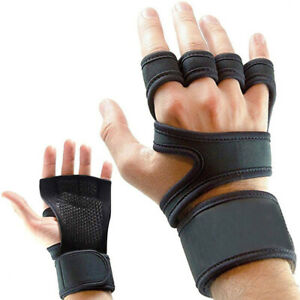 Men Women Fitness Gloves Non-slip Palm Wrist Strap Riding Rowing Gym Training